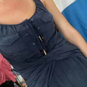 Leifsdottir tie front blue dress